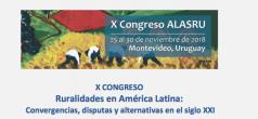 """X Congreso ALASRU: """"Ruralidades en América Latina: convergencias, disputas y alternativas en el siglo XXI""""."""